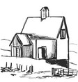 country house rural landscape sketch drawing vector image