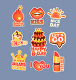 cute cartoon set of stickers with short positive vector image vector image