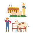 farming people man and woman with pig and cow vector image vector image