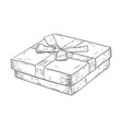 gift box with ribbon bow jewelry box hand drawn vector image vector image