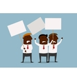 group businessmen protesting with placards vector image