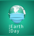 happy earth day earth globe in medical face mask vector image vector image