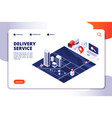 isometric delivery concept logistic truck and vector image