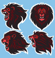 lion head logo set design collection vector image vector image