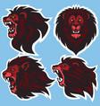 lion head logo set design collection vector image