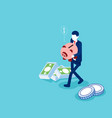 man holding piggy bank with money flat isometric vector image vector image