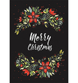 merry christmas flowers vector image vector image