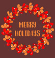 merry holidays red christmas card with wreath vector image