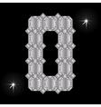 Metal letter O Gemstone Geometric shapes vector image