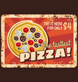 pizza fast food rusty metal plate price tag vector image vector image