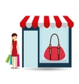 purse woman buys gifts vector image vector image