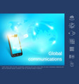 realistic global communication concept vector image vector image