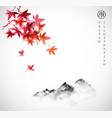 red japanese maple leaves and far mountains in fog vector image vector image