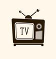 retro vintage tv on light background vector image