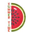 ripe slice watermelon and inscription vector image vector image