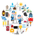 round composition with electricians industry vector image
