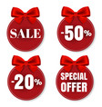 sale price tag with bow isolated vector image vector image