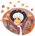 senior lady enjoying autumn season vector image