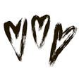 set hearts ink hand drawn vector image vector image