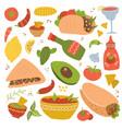 set mexican food traditional menu icon vector image