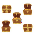 set of flat style treasure chests full and empty vector image vector image