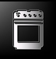 stove sign gray 3d printed icon on black vector image
