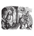 the denial of peter - jesus looks at peter in the vector image vector image