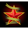 The red star with a ribbon vector image vector image