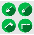 Tool icon set Trowel spattle surfacer axe vector image vector image