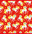 unicorns and stars on red background vector image vector image
