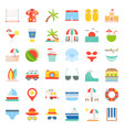 vacation on the beach beach related flat icon set vector image