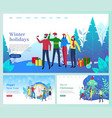 winter holidays christmas vacation people vector image vector image