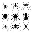 set of spider silhouette icon top view vector image