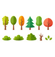 Isolated cartoon trees collection vector image
