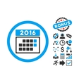 2016 Month Calendar Flat Icon with Bonus vector image vector image
