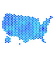 blue hexagon usa with alaska map vector image