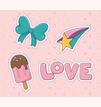 bow love star ice cream patch fashion badge vector image