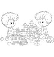 boys playing with bricks vector image