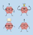 brain cartoon set with glasses vector image vector image