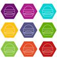 burger icons set 9 vector image