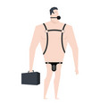 businessman bdsm slave boss leather bandage sexy vector image