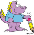 Cartoon Dinosaur Holding a Pencil vector image vector image