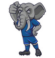 cartoon elephant soccer mascot showing thumb up vector image