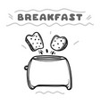cartoon toaster with toasts hand drawn vector image
