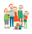 christmas family portrait big happy family in vector image vector image