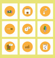 collection of icons in flat style business vector image vector image