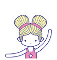 colorful girl practice ballet with two buns hair vector image vector image