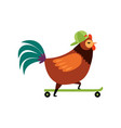 colorful rooster riding on skateboard farm cock vector image vector image