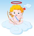 cupid sitting on cloud vector image