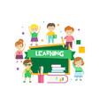 cute happy schoolchildren and green chalkboard vector image